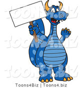 Vector Illustration of a Blue Cartoon Dragon Mascot Holding a Sign by Toons4Biz