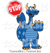 Vector Illustration of a Blue Cartoon Dragon Mascot Holding a Stop Sign by Toons4Biz