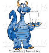 Vector Illustration of a Blue Cartoon Dragon Mascot Holding a Tooth by Toons4Biz