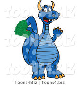 Vector Illustration of a Blue Cartoon Dragon Mascot Holding Cash Money by Toons4Biz