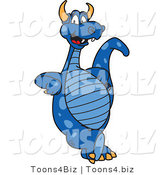 Vector Illustration of a Blue Cartoon Dragon Mascot Leaning by Toons4Biz
