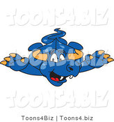 Vector Illustration of a Blue Cartoon Dragon Mascot Leaping Forward by Toons4Biz