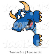 Vector Illustration of a Blue Cartoon Dragon Mascot Looking Around a Sign by Toons4Biz
