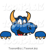 Vector Illustration of a Blue Cartoon Dragon Mascot Looking over a Sign by Toons4Biz