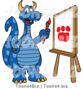 Vector Illustration of a Blue Cartoon Dragon Mascot Painting a Paw Print by Toons4Biz