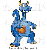 Vector Illustration of a Blue Cartoon Dragon Mascot Playing Basketball by Toons4Biz