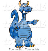Vector Illustration of a Blue Cartoon Dragon Mascot Pointing by Toons4Biz