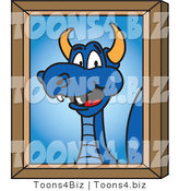Vector Illustration of a Blue Cartoon Dragon Mascot Portrait by Toons4Biz