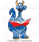 Vector Illustration of a Blue Cartoon Dragon Mascot Reading by Toons4Biz