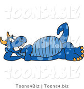 Vector Illustration of a Blue Cartoon Dragon Mascot Reclined by Toons4Biz