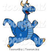 Vector Illustration of a Blue Cartoon Dragon Mascot Running by Toons4Biz