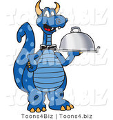 Vector Illustration of a Blue Cartoon Dragon Mascot Serving a Platter by Toons4Biz