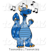 Vector Illustration of a Blue Cartoon Dragon Mascot Singing by Toons4Biz