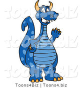 Vector Illustration of a Blue Cartoon Dragon Mascot Waving by Toons4Biz