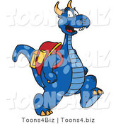 Vector Illustration of a Blue Cartoon Dragon Mascot Wearing a Backpack by Toons4Biz