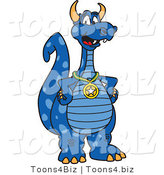 Vector Illustration of a Blue Cartoon Dragon Mascot Wearing a Sports Medal by Toons4Biz
