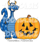 Vector Illustration of a Blue Cartoon Dragon Mascot with a Halloween Pumpkin by Toons4Biz