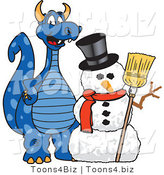 Vector Illustration of a Blue Cartoon Dragon Mascot with a Snowman by Toons4Biz