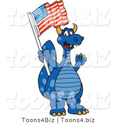 Vector Illustration of a Blue Cartoon Dragon Mascot with an American Flag by Toons4Biz