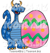 Vector Illustration of a Blue Cartoon Dragon Mascot with an Easter Egg by Toons4Biz