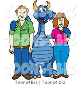 Vector Illustration of a Blue Cartoon Dragon Mascot with Parents by Toons4Biz