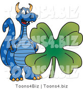 Vector Illustration of a Blue Cartoon Dragon Mascot Wth a St Patricks Day Clover by Toons4Biz