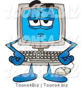 Vector Illustration of a Bored or Stern Cartoon Computer Mascot by Toons4Biz