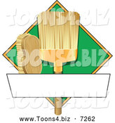 Vector Illustration of a Broom and Scrub Brush Cleaning Sign or Logo by Toons4Biz