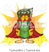 Vector Illustration of a Carpet Roll Mascot Dressed As a Super Hero by Toons4Biz