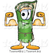 Vector Illustration of a Carpet Roll Mascot Flexing His Arm Muscles by Toons4Biz