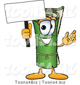 Vector Illustration of a Carpet Roll Mascot Holding a Blank Sign by Toons4Biz