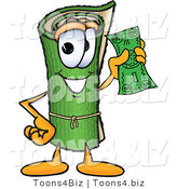 Vector Illustration of a Carpet Roll Mascot Holding a Dollar Bill by Toons4Biz
