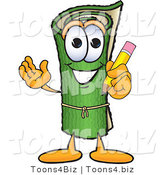 Vector Illustration of a Carpet Roll Mascot Holding a Pencil by Toons4Biz