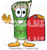 Vector Illustration of a Carpet Roll Mascot Holding a Red Price Tag by Toons4Biz