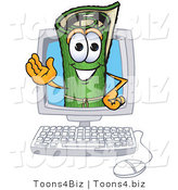 Vector Illustration of a Carpet Roll Mascot in a Computer Screen by Toons4Biz