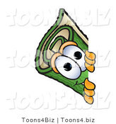 Vector Illustration of a Carpet Roll Mascot Peeking Around a Corner by Toons4Biz