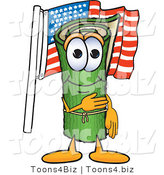 Vector Illustration of a Carpet Roll Mascot Pledging Allegiance to the American Flag by Toons4Biz