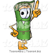 Vector Illustration of a Carpet Roll Mascot Pointing Upwards by Toons4Biz