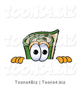 Vector Illustration of a Carpet Roll Mascot Scared, Peeking over a Surface by Toons4Biz