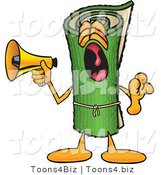 Vector Illustration of a Carpet Roll Mascot Screaming into a Megaphone by Toons4Biz
