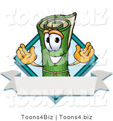Vector Illustration of a Carpet Roll Mascot with a Blank Label by Toons4Biz