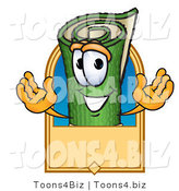 Vector Illustration of a Carpet Roll Mascot with a Blank Tan Label by Toons4Biz