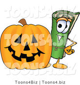 Vector Illustration of a Carpet Roll Mascot with a Carved Halloween Pumpkin by Toons4Biz