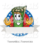 Vector Illustration of a Carpet Roll Mascot with Stars and a Blank Label by Toons4Biz