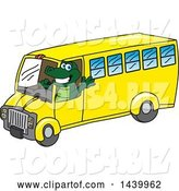 Vector Illustration of a Cartoon Alligator Mascot Driving a School Bus by Toons4Biz