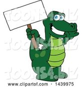 Vector Illustration of a Cartoon Alligator Mascot Holding a Blank Sign by Toons4Biz