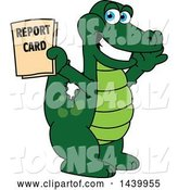 Vector Illustration of a Cartoon Alligator Mascot Holding a Report Card by Toons4Biz