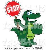 Vector Illustration of a Cartoon Alligator Mascot Holding a Stop Sign by Toons4Biz