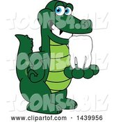 Vector Illustration of a Cartoon Alligator Mascot Holding a Tooth by Toons4Biz