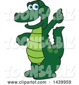 Vector Illustration of a Cartoon Alligator Mascot Holding up a Finger by Toons4Biz